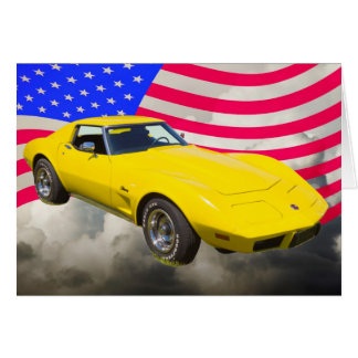 1975 Corvette Stingray With American Flag Greeting Card