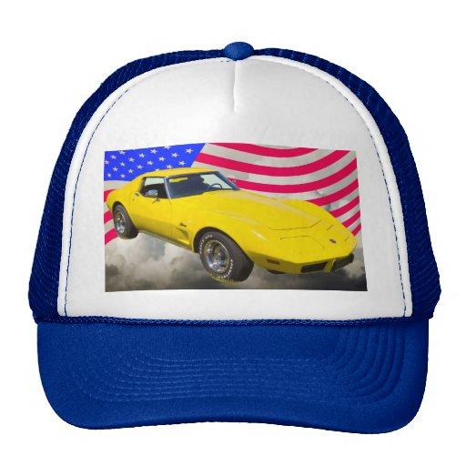 1975 Corvette Stingray With American Flag Trucker Hats