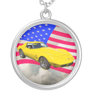 1975 Corvette Stingray With American Flag Silver Plated Necklace