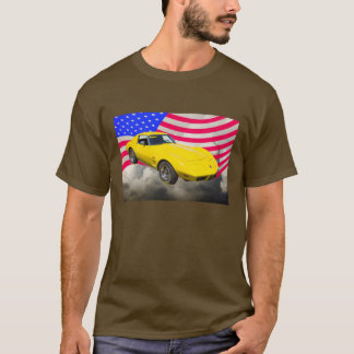 1975 Corvette Stingray With American Flag T-Shirt