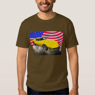 1975 Corvette Stingray With American Flag Tee Shirt