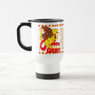 1976 FireDragon born in Taurus by Valxart Travel Mug