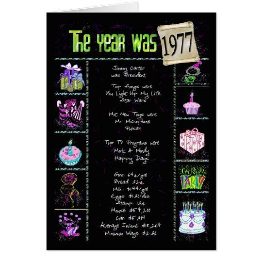1977 Birthday Year Trivia Card