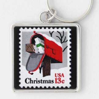 1977 CHRISTMAS STAMP (mailbox) ~ Silver-Colored Square Key Ring