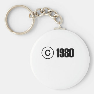 1980 Copyright Basic Round Button Key Ring
