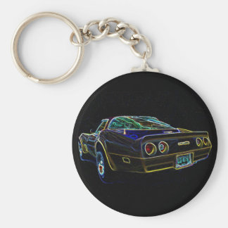 1980 Corvette Basic Round Button Key Ring