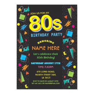 1980s Birthday Party Eighties 80s Invitations