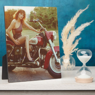 1980s Motorcycle Pinup Girl Plaques