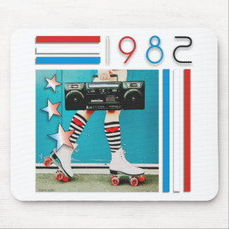 1980's Retro Boom Box and Roller Skates Design Mouse Pad