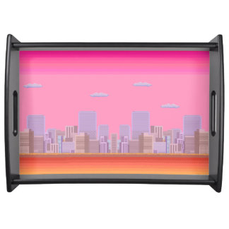1980s Retro Computer Game Skyline Serving Tray
