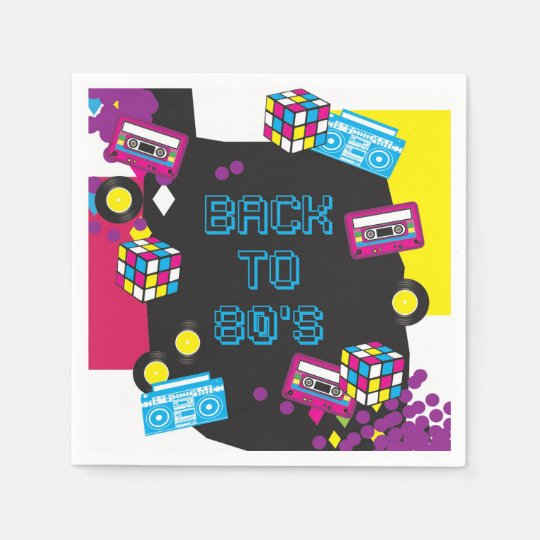 1980s Totally Awesome Party Napkins / Serviette Paper