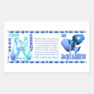 1982 Chinese zodiac water dog born Aquarius Rectangular Sticker