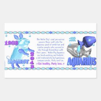 1983 2043 Chinese zodiac water pig born Aquarius Rectangle Sticker