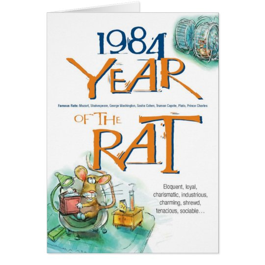 1984 Chinese Zodiac Rat Funny Birthday Card