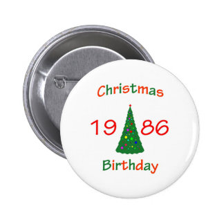 1986 Christmas Birthday Pinback Button