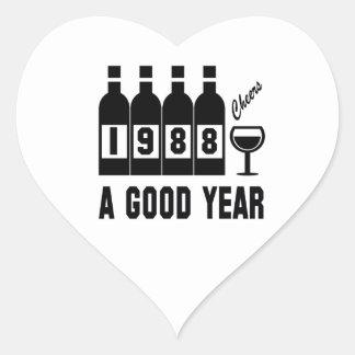 1988 A Good Year Heart Sticker