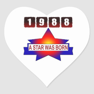 1988 A Star Was Born Heart Stickers