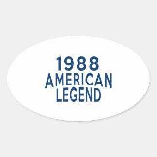 1988 American Legend Birthday Designs Oval Sticker