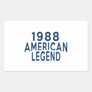 1988 American Legend Birthday Designs Rectangular Sticker