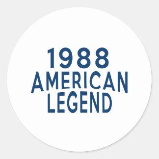 1988 American Legend Birthday Designs Round Sticker