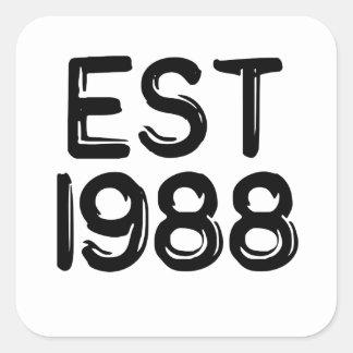 1988 birth year birthday square sticker