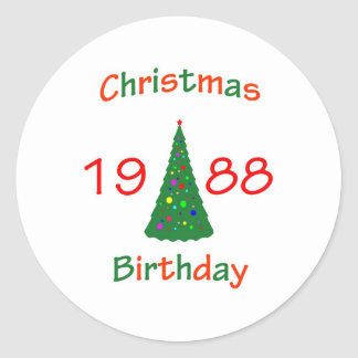 1988 Christmas Birthday Classic Round Sticker