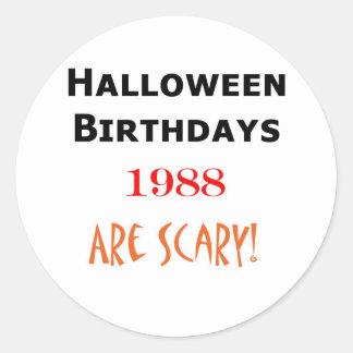 1988 halloween birthday round sticker