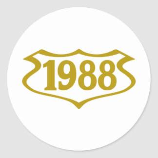 1988-shield.png classic round sticker
