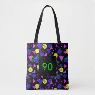 1990 bold geometric dark tote bag