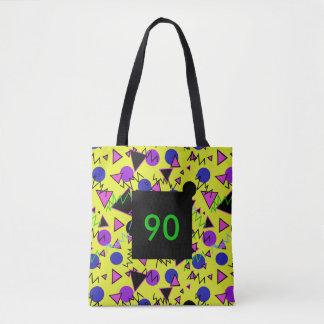 1990 bold geometric tote bag