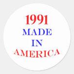 1991 Made in America Round Sticker