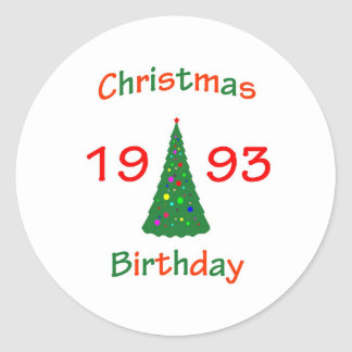 1993 Christmas Birthday Round Stickers