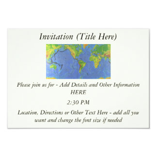 1994 Physical World Map - Tectonic Plates - USGS 9 Cm X 13 Cm Invitation Card