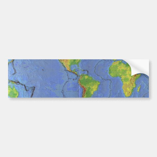 1994 Physical World Map - Tectonic Plates - USGS Bumper Sticker
