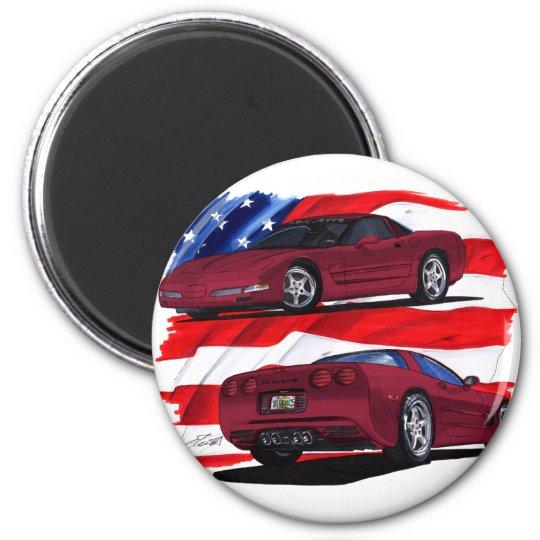 1999-04 Corvette Maroon Car 6 Cm Round Magnet