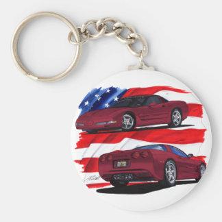 1999-04 Corvette Maroon Car Key Ring