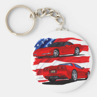 1999-04 Corvette Red Car Basic Round Button Key Ring