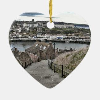 199 Steps Whitby Ceramic Heart Decoration