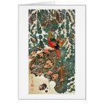 19. 雪中錦鶏図, 若冲 Pheasantin theSnow, Jakuchu Greeting Card