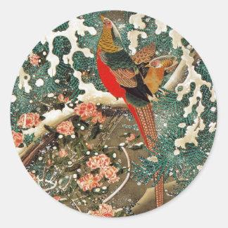 19. 雪中錦鶏図, 若冲 Pheasantin theSnow, Jakuchu Round Sticker