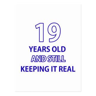 19 birthday design postcard