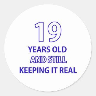 19 birthday design round sticker