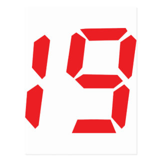 19 nineteen  red alarm clock digital number postcards