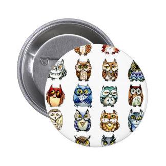 19 Owls and 1Cat 6 Cm Round Badge
