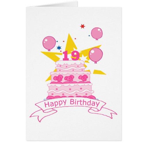 19 Year Old Birthday Cake Greeting Cards