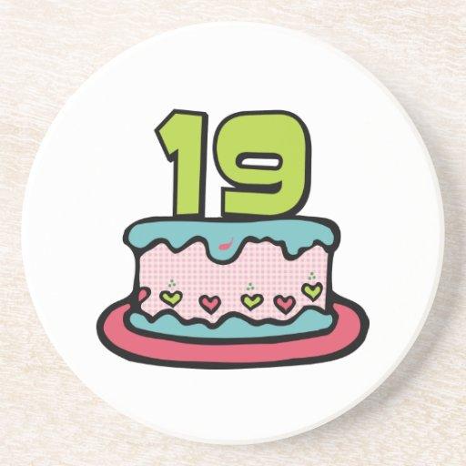 19 Year Old Birthday Cake Drink Coaster