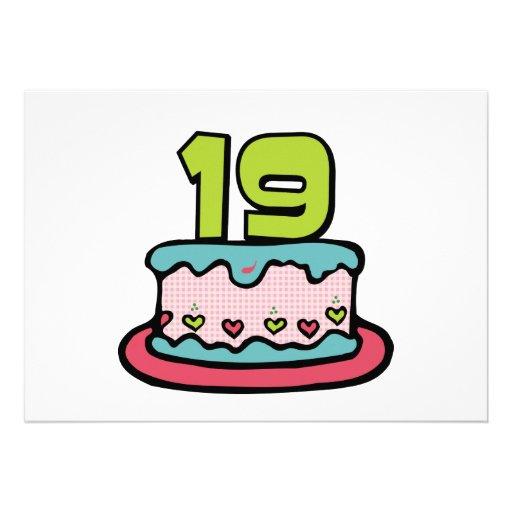 19 Year Old Birthday Cake Personalized Invitation