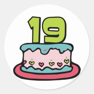 19 Year Old Birthday Cake Round Sticker