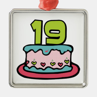 19 Year Old Birthday Cake Silver-Colored Square Decoration