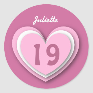 19 Year Old Birthday Layered Hearts V19R Round Sticker